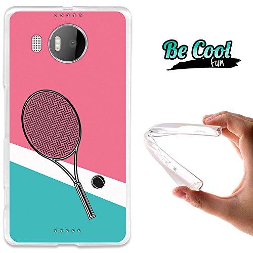 Becool® Fun- Flexible Gel Schutzhülle für Microsoft Lumia 950 XL, TPU Hülle aus bestem Silikon gefertigt, die dank unserem exklusivem Design sich einwandfrei an Ihr Smartphone anpasst und optimalen Schutz gewährleistet. Tennisschläger