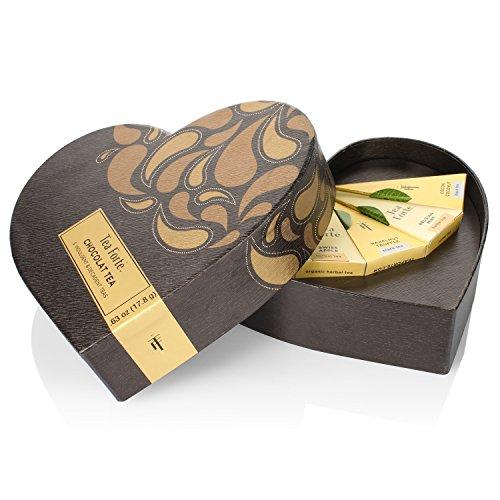 Tea Forte Small Heart Chocolat Teas in Gift Box with 5 Handcrafted Pyramid Tea Infusers - Black Tea, Herbal Tea