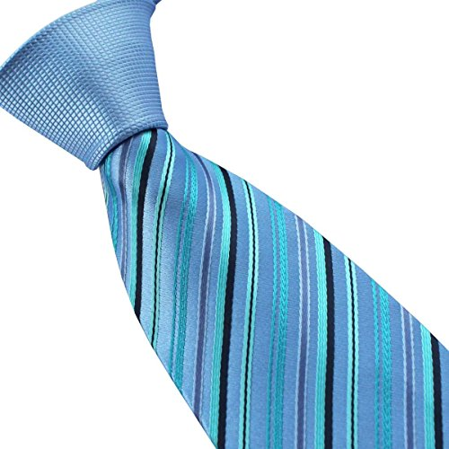 Coachella Ties Solid Color Knot Contrast Diagonal Stripes Necktie Microfiber Formal Tie (Light Blue Green)