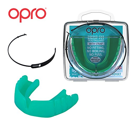 OPRO Mouthguard Snap-Fit Gum Shield + Strap for Ball, Combat and Stick Sports -18 Month Warranty (Adult and Kids Sizes) (Mint Green Flavoured, Kids)