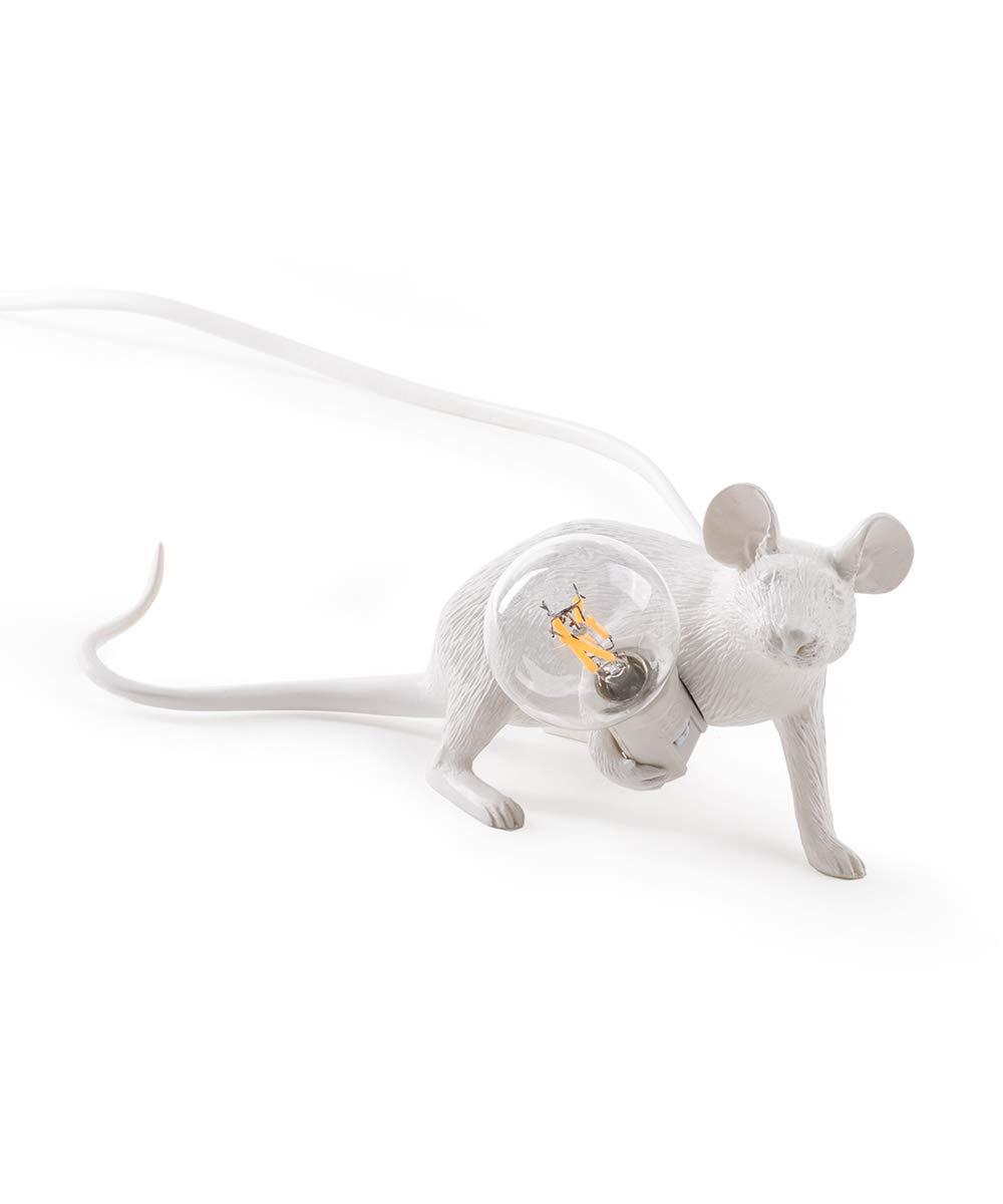 Seletti Mouse Lamp-Legend Weiß, Harz, 6,2 x 2,1 x 8,1 cm
