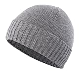 Home Prefer Boys Winter Hat for Large Head Teenagers Soft Knit Lined Cuff Beanie Warm Skull Cap Gray