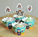 Astro shop Transformers Theme Cupcake Wrappers with Picks for Cake & Party Decoration Favor Supplies