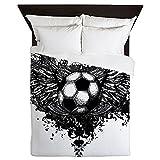 Queen Duvet Cover Soccer Ball Futbol Angel Wings