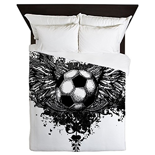 Queen Duvet Cover Soccer Ball Futbol Angel Wings by Royal Lion