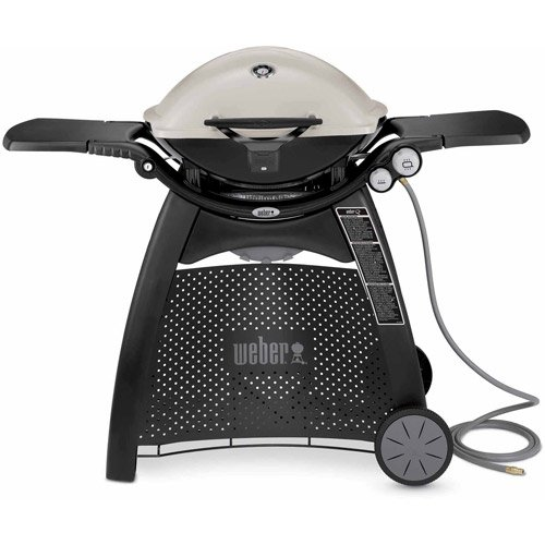 Weber Q-3200 Natural Gas Grill, Titanium, Electronic ignition, Infinite control burner valves, Removable folding work tables, Built-in lid thermometer by Weber
