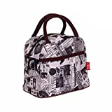 Micom Cute Printing Waterproof Nylon Oxford Zipper Picnic Lunch Bag Tote Bags Lunch Holder with Pocket for Women, Girls, Colorful (Old Picture)