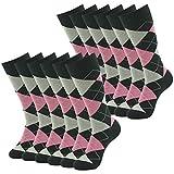 Casual Crew Dress Socks, SUTTOS Men's Wedding Groomsmen Socks Gifts Business Suit Wedding Socks Elite Cushion Comfort Warm Pink Black Argyle Plaid Men's Fun Dress Socks Cotton Fashion Patterned Socks 12 Pairs