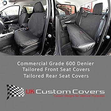 Black UK Custom Covers SC242B-SC243B Tailored Heavy Duty Waterproof Front /& Rear Seat Covers