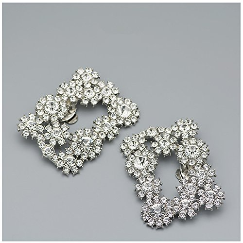 Douqu 2Pcs Bridal Wedding Party Rhinestone Crystal Silver Colorful Shoe Buckle Rectangular Removable Flower shoe clips ()