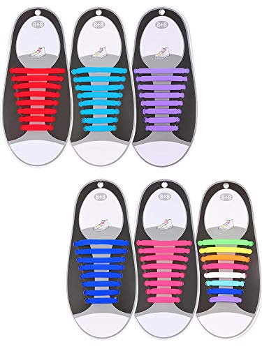 Hestya 6 Pairs No Tie Shoelaces for Kids and Adults, Waterproof Silicone Flat Elastic Athletic Sport Shoe Laces for Sneakers Board Shoes (Sky Blue, red, Purple, Pink, Blue, Multicolor)