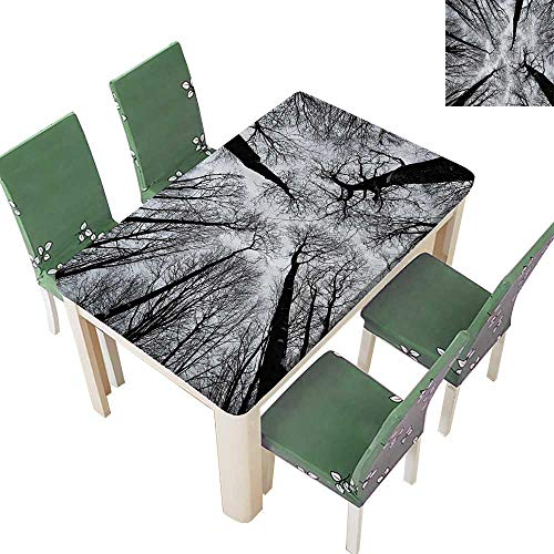 (Printsonne Polyester Tablecloth Table Cover Scary Winter Tops of The Trees Dark Dramatic Silhouettes Enchanted for Dining Room 50 x 102 Inch)