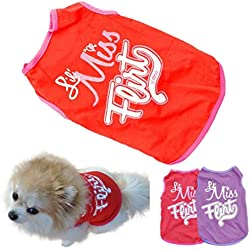 Small Dog Shirt, Voberry Fashion Pet Puppy Clothes Funny Cotton Costumes Pet Dog Cat Cute Quote T Shirt (S, Red)