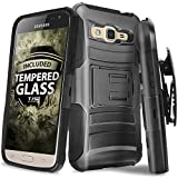 Galaxy J7 (2015) Case With TJS® Tempered Glass Screen Protector Included, Dual Layer Heavy Duty Shockproof Hybrid Armor Belt Clip Holster Built-in Kickstand For Samsung Galaxy J7/J700 (Black/Black)