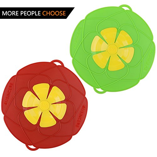 AUANDYU 2 X Spill Stopper Lid Cover And Spill Stopper, Boil Over Safeguard,Silicone Spill Stopper Pot Pan Lid Multi-Function Kitchen Tool (Green And Red) by AUANDYU (Image #7)