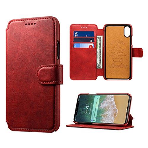 Hibote In S8 Caso Premium Rosso Flip Pelle Cover Plus Per Custodia Samsung Portafoglio TgwqarxTZ