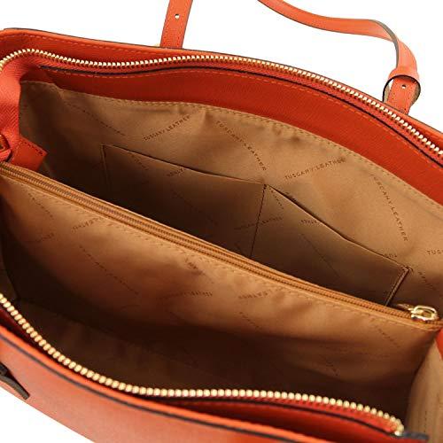Brandy Leather a in Saffiano TLBag mano pelle Borsa Tuscany Nero d4Rz6Zqd