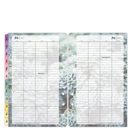 Compact Blooms Two Page Monthly Ring-bound Tabs - Jul 2017 - Jun 2018