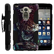 LG G Stylo Cover, Belt Clip, Dual Layer Combo Armor Reloaded w/ Kickstand - Spooky Scary Theme - for LG G Stylo, G4 Stylus LS770, H631, MS631 by MINITURTLE - Close up Zombie