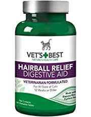 Vet's Best Cat Hairball Relief Digestive Aid, 60 Chewable Tablets, Classic Chicken Flavor (2 Pack (60 Tablets))
