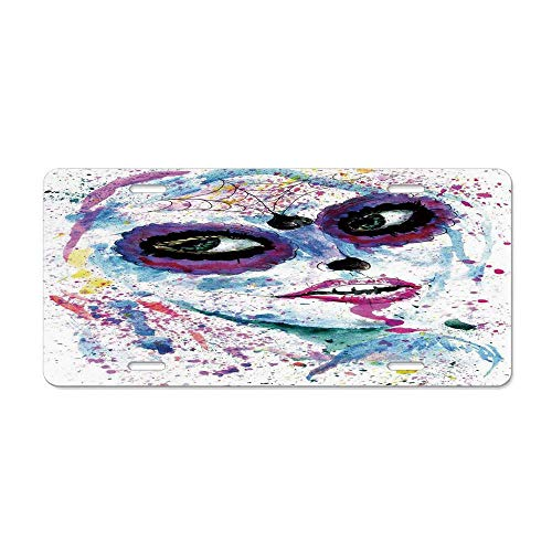 Wonderhorsegala Girls,Grunge Halloween Lady with Sugar Skull Make Up Creepy Dead Face Gothic Woman Artsy,Blue Purple Personalized Auto Car Tag Sign Aluminum License Plate 4 Holes (12X 6) ()