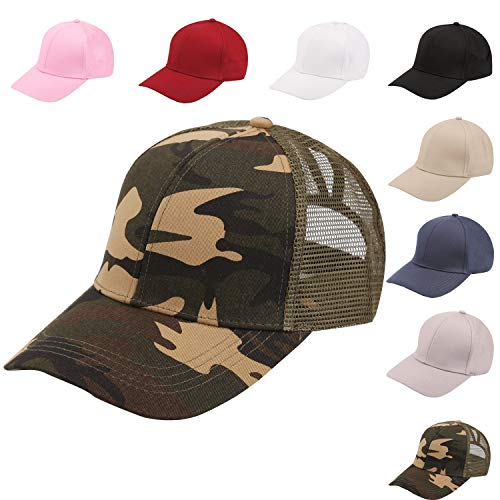 NeuFashion Ponycap Messy High Bun Ponytail Adjustable Mesh Trucker Baseball Cap Hat, Cotton Camouflage, One Size