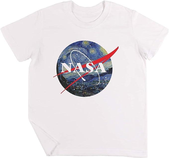 NASA Estrellado Noche - NASA Niños Chicos Chicas Unisexo Camiseta Blanco: Amazon.es: Ropa y accesorios