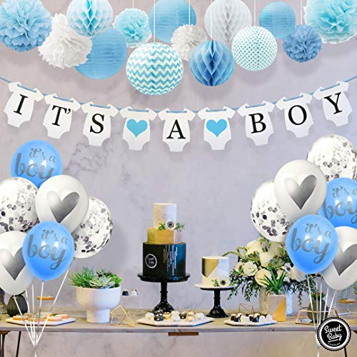 - Sweet Baby Co. Baby Shower Decorations For Boy With It's A Boy Banner, Paper Lanterns, Honeycomb Balls, Paper Tissue Pom Poms, Confetti Balloons, Silver Balloon Ribbon (Baby Blue, True Blue, Grey and White) | Baby Shower Decorations Set