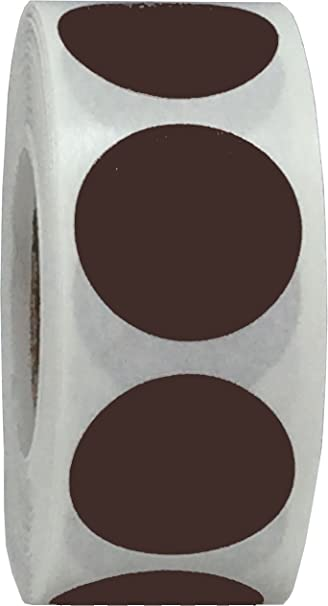 Brown Color Coding Labels for Organizing Inventory 0.75 Inch Round Circle Dots 500 Total Adhesive Stickers On A Roll