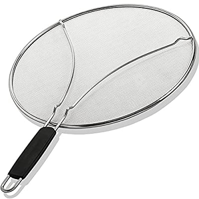 "Splatter Screen for Frying Pan 13"" - Stops 97% of Oil Splash - Protects Skin from Burns - Splatter Guard for Cooking - Iron Skillet Lid Keeps Kitchen Clean - Stainless Steel - Heavy Duty Mesh Cover"