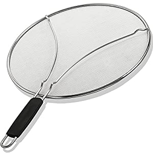 """Grease Splatter Screen for Frying Pan 13"""" - Stops 99% of Hot Oil Splash - Protects Skin from Burns - Splatter Guard for Cooking - Iron Skillet Lid Keeps Kitchen Clean - Stainless Steel"""