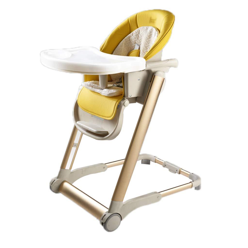 子供用ダイニングチェア、ポータブル折りたたみ式卵殻6 in 1多機能調節式リクライニングチェアハイチェアー、家庭用、04歳の子供用 (色 : Ginger yellow)  Ginger yellow B07KYLF3TY