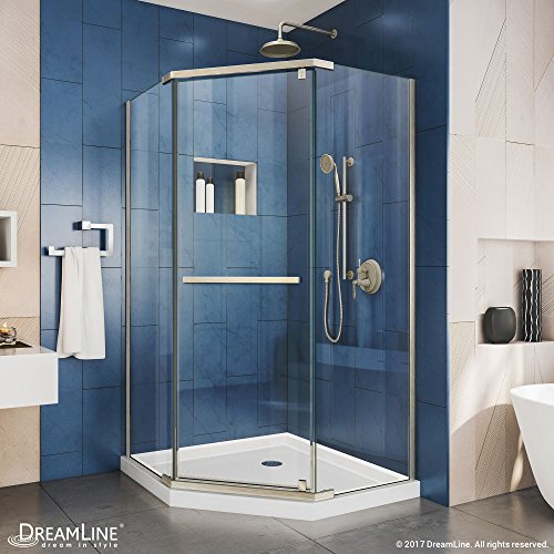 - DreamLine Prism 38 in. x 74 3/4 in. Frameless Neo-Angle Pivot Shower Enclosure in Brushed Nickel with White Base Kit