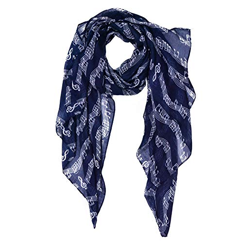 Scarf for Women Lightweight Music Note Print Scarfs Fashionable Cool Spring/Summer cozy Scarves Shawl Wrap (navy)