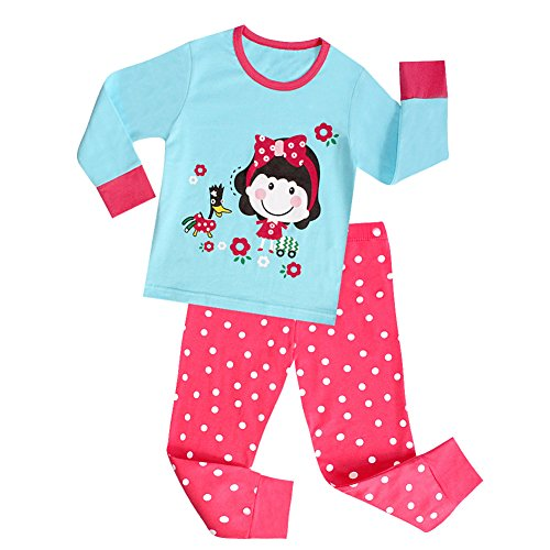 [VICVIK Baby and Little Girl Cartoon Characters Printed Pajama Sets 2 Piece 100% Cotton Size 2-7T] (Little Girl Skeleton Costumes)