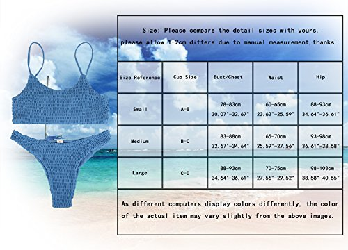 36df746d6c40f Fantastic Zone Women's Sexy Solid Color Halter Shirred Bikini Swimsuit  Bikini Set Bathing Suit Cover UPS