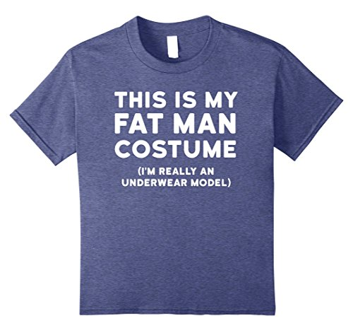 Kids Funny Halloween Costume Shirt - Fat Man Underwear Model Tee 12 Heather -