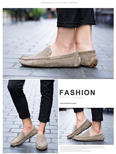 Khaki Fori Flats vera Mocassini Mens Casual di Comfort Mocassini guida Moda Scarpe Slip pelle da Loafers Soft Mens in estive uomo qWHrUqga6w