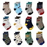 LAISOR 12 Pairs Assorted Non-Skid Ankle Cotton Socks with Grip For Kids Toddlers Baby Boys (3-5 Years)