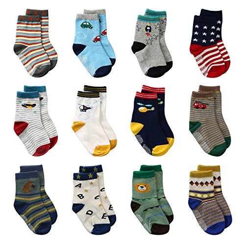 LAISOR 12 Pairs Assorted Non-Skid Ankle Cotton Socks with Grip For Kids Toddlers Baby Boys (12-36 Months)