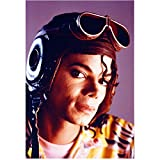 Michael Jackson 8 inch x 10 inch PHOTOGRAPH Singer Thriller Wearing Old Fashioned Aviator Hat & Goggles Up on Head kn