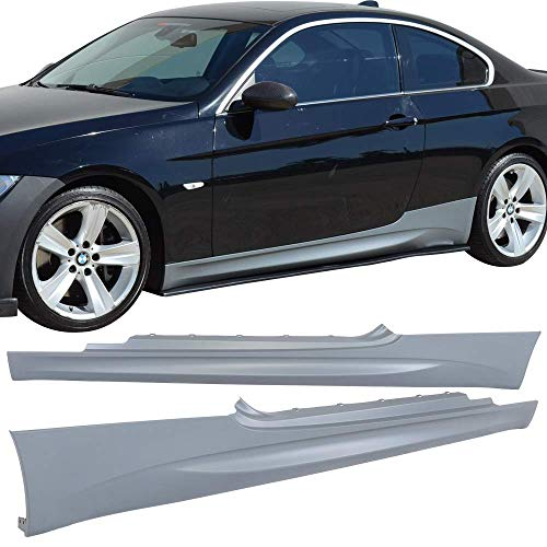 IKON MOTORSPORTS Fits 2007-2013 BMW E92 E93 3-Series Coupe M3 Style PP Side Skirts Extension Panels Pair ()