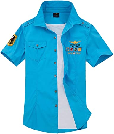 Star-bw Camisa Hombre Militar Manga Corta Juvenil Slim fit Casual gant (XXXXL, Azul): Amazon.es: Ropa y accesorios