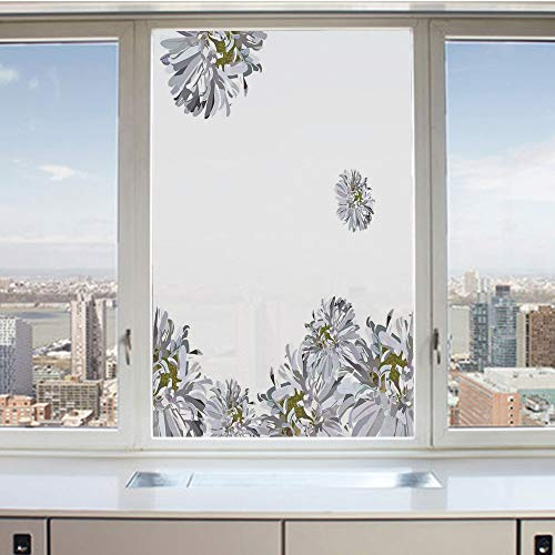 (3D Decorative Privacy Window Films,Flourishing Summer Fusion Poppy Chamomile Purity Icons of Habitat Art,No-Glue Self Static Cling Glass Film for Home Bedroom Bathroom Kitchen Office 17.5x36 Inch)
