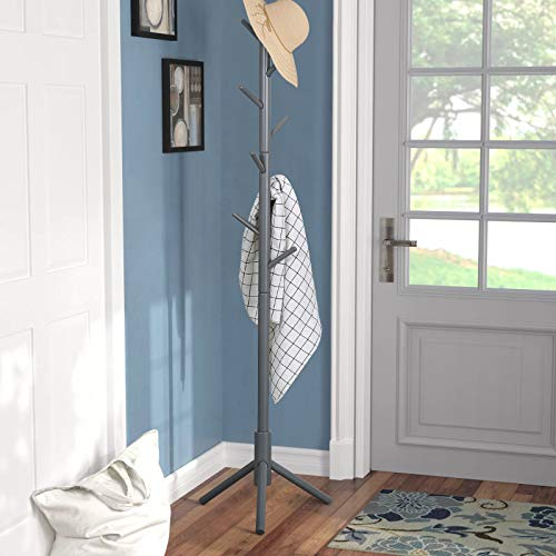 Sturdy Coat Rack Stand-Coat Hat Tree Coat Hanger Holder Stand for Clothes,Scarves,Handbags,Umbrella-(8 Hooks,Gray)