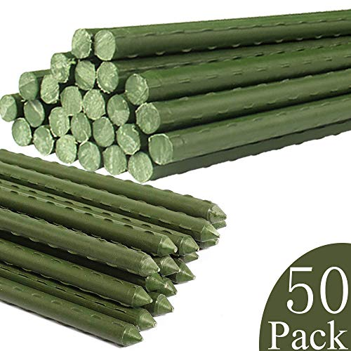 YIDIE Garden Stakes Sturdy Metal Fence Post 5 Ft Plastic Coated Steel Plant Sticks for Tomatoes,Trees,Cucumber,Fences,Beans,Pack of 50