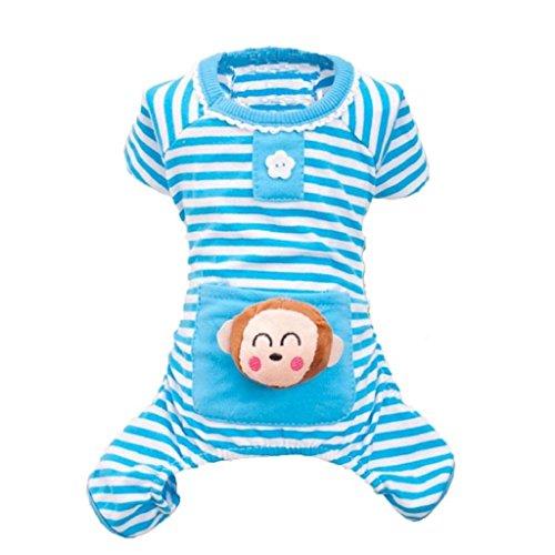 AIMTOPPY Pet Dog Stripes Pajamas Jumpsuits Coat Clothes Apparel Clothing (XS, Blue) (Dog Clothing Stores)