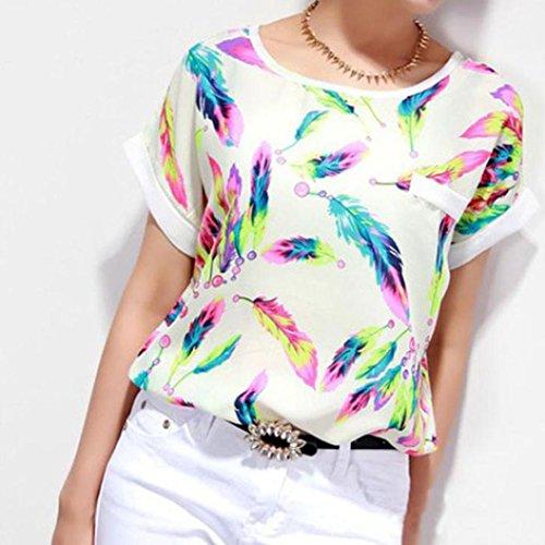 Amlaiworld Plumes Femmes Blouse Top T-shirt lâche Casual