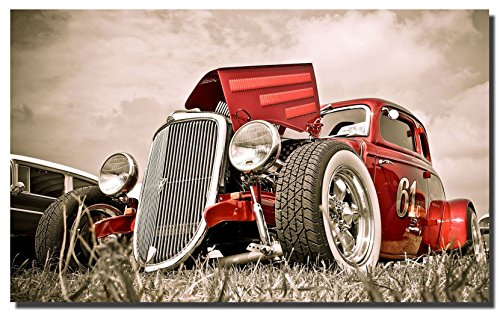 Hot Rod Vintage Cars Canvas Wall Art Beautiful Picture Prints living Room Bedroom Home Decor Decorations UnStretched And No Framed ()