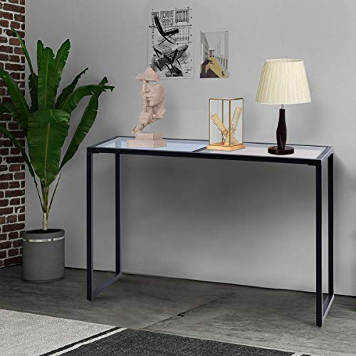Tangkula Console Table Modern Tempered Glass Metal Frame Hallway Entryway Furniture Sofa Table, Blue Tan 1, 43.5 L 14 W 29.5 H